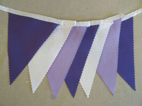 BUNTING Plain Purple, Lilac and White- 3m/10ft or 5m/16ft
